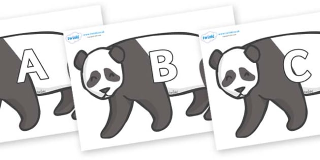 A-Z Alphabet on Pandas - A-Z, A4, display, Alphabet frieze, Display letters, Letter posters, A-Z letters, Alphabet flashcards
