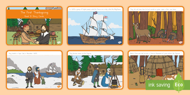 The First Thanksgiving Read It Story Cards - Thanksgiving, Pilgrims, Native Americans, First Thanksgiving