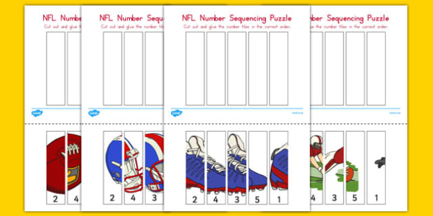 NFL Themed Number Sequencing Puzzle - usa, nfl, national football league, football, american football, number sequencing, puzzle