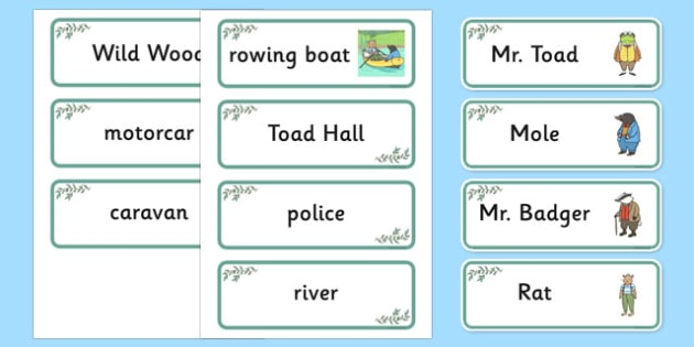 The Wind in the Willows Word Cards - The Wind in the Willows