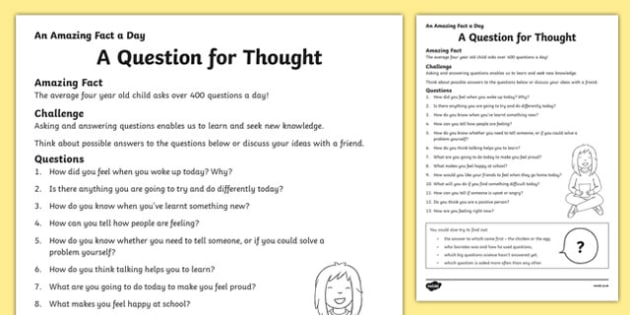 A Question for Thought Activity Sheet, worksheet