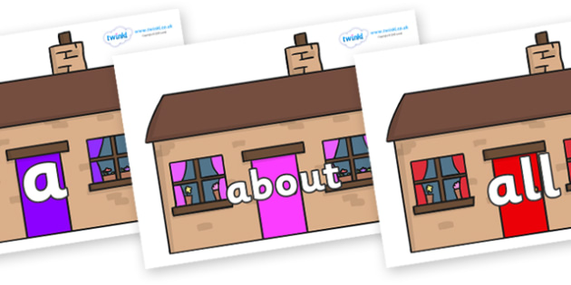 100 High Frequency Words on Houses - High frequency words, hfw, DfES Letters and Sounds, Letters and Sounds, display words
