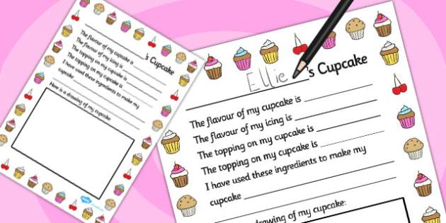 Design a Cupcake Role Play Writing Frame - writing frame, cupcake