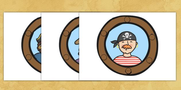 Pirate Ship Display Portholes - Pirate, Pirates, Flag, pirate display, porthole, Topic, Display, Posters, Freize, play, pirate, pirates, treasure, ship, jolly roger, ship, island, ocean
