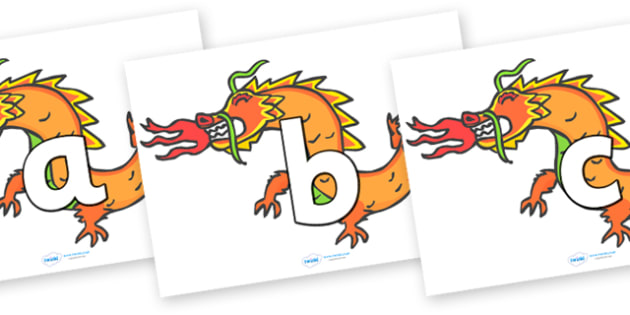 a-z on Chinese Dragons (Lowercase) - a-z, alphabet, chinese, dragons, china, mandarin, A-Z, literacy, lowercase, lower, chinse dragons, letters, letter