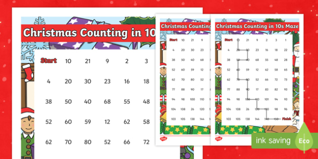 Christmas Themed Counting in 10s Maze Activity