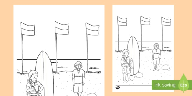 Surf Life Saver Colouring Page-Australia