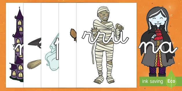 Halloween tarjetas de sílabas-Spanish