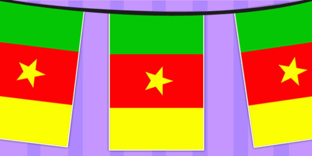 Cameroon A4 Flag Bunting - countries, geography, flags, country