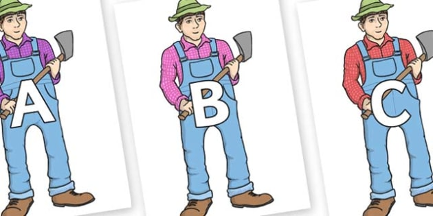 A-Z Alphabet on Mr Arable - A-Z, A4, display, Alphabet frieze, Display letters, Letter posters, A-Z letters, Alphabet flashcards