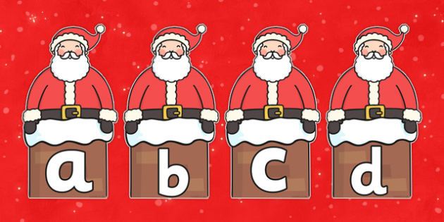 A-Z Alphabet on Santa -  Christmas, xmas, santa, advent, nativity, santa, father christmas, Jesus, tree, stocking, present, activity, cracker, angel, snowman, advent , bauble, A-Z,  Alphabet frieze, Display letters, Letter posters, A-Z letters, Alpha