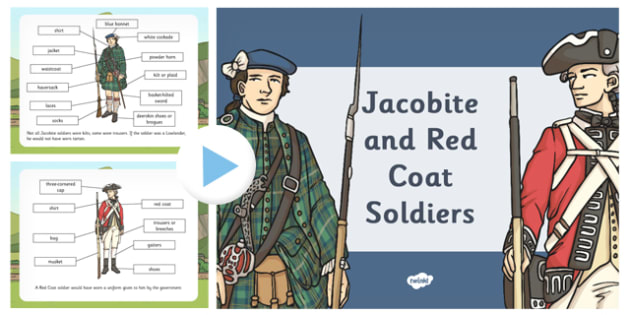 A Jacobite Soldier and a Red Coat Soldier PowerPoint - jacobite, soldier
