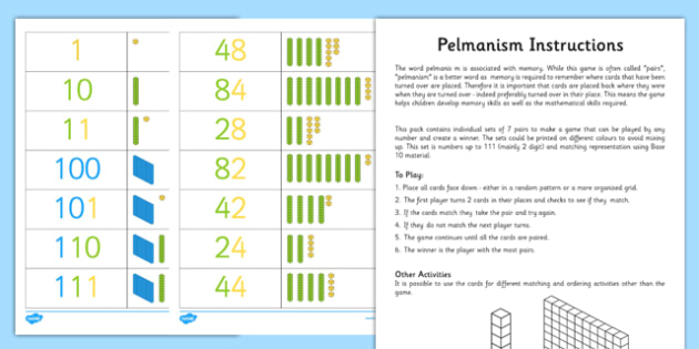 Pelmanism Base 10 Counting Game - pelmanism, count, game, base 10