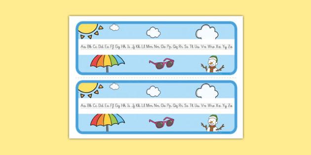 El tiempo y las estaciones del año Recta alfabética-Spanish