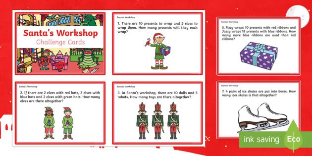 KS1 Santa's Workshop Challenge Cards - Christmas, Nativity, Jesus, xmas, Xmas, Father Christmas, Santa, maths challenge, maths cards, Santa