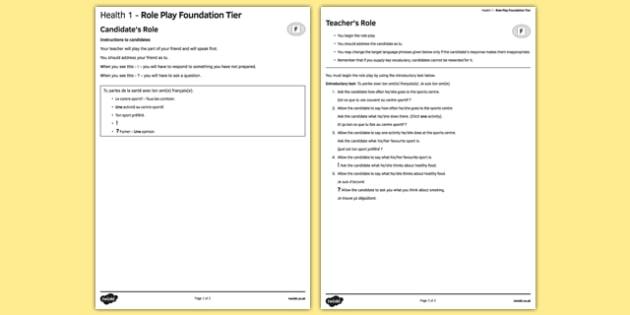 La santé 1 Jeu de rôle Foundation Tier - french, Health, santé, role play, foundation, healthy