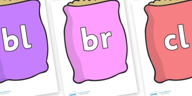 Initial Letter Blends on Bags - Initial Letters, initial letter, letter blend, letter blends, consonant, consonants, digraph, trigraph, literacy, alphabet, letters, foundation stage literacy