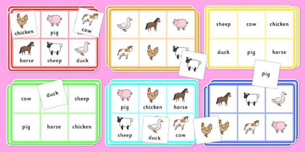 Who Farm Animals Lotto Bingo - animals, lotto, bingo, games