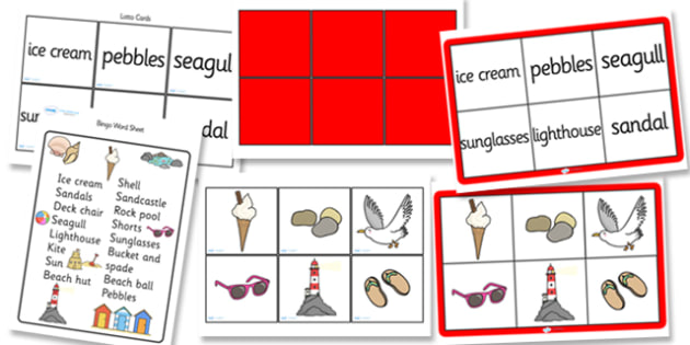 Seaside Bingo - Seaside, sea, shop, bingo, game, activity, holiday, topic, water, tide, waves, sand, beach, sea, sun, holiday, coast