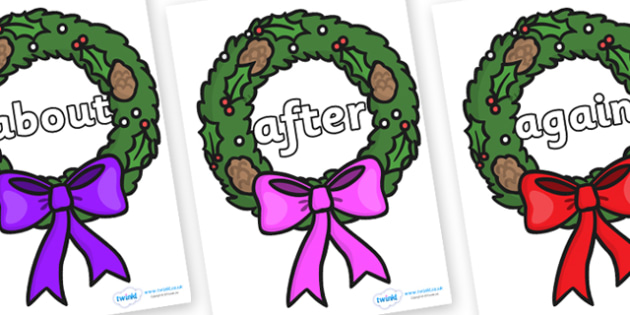 KS1 Keywords on Christmas Wreaths - KS1, CLL, Communication language and literacy, Display, Key words, high frequency words, foundation stage literacy, DfES Letters and Sounds, Letters and Sounds, spelling