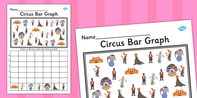 Circus Bar Graph Activity Worksheet - circus, bar graph, graph