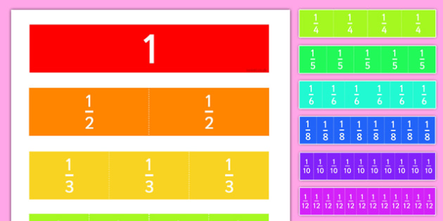 Fractions Cut Outs - fractions, cut outs, cut-outs, maths, number