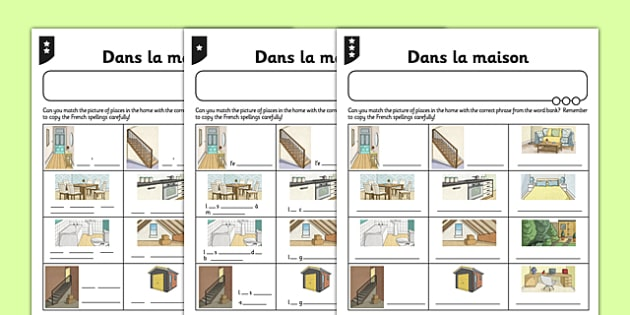 Activity Sheet Homes French - french, home, houses and homes, house, activity, worksheet