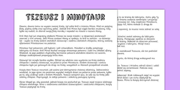Mit Tezeusz i Minotaur po polsku