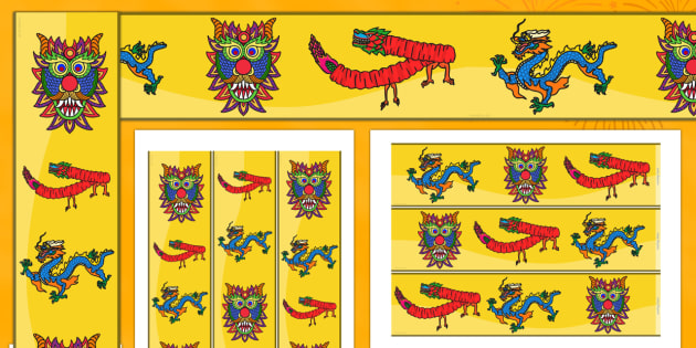 Chinese Dragon Mask Display Borders - chinese, dragon, new year