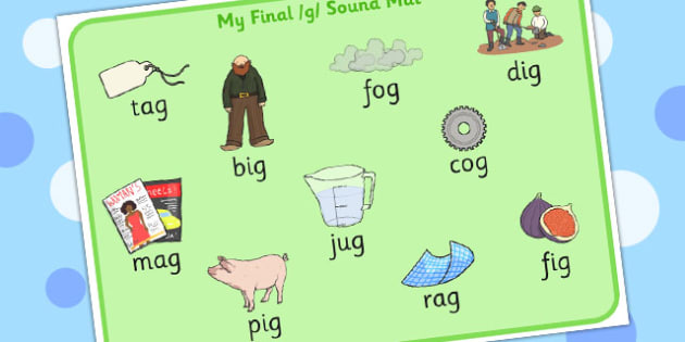 Final G Sound Word Mat 2 - final, g, sound, word mat, word, mat