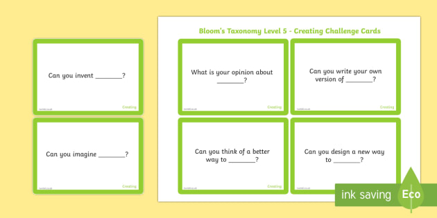 Bloom's Taxonomy Level 5 Creating Challenge Cards