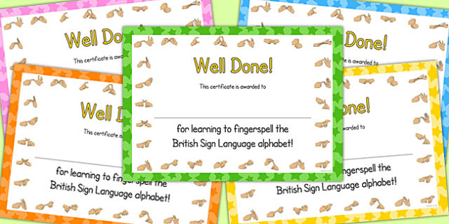 I Can Fingerspell The British Sign Language Alphabet Certificates