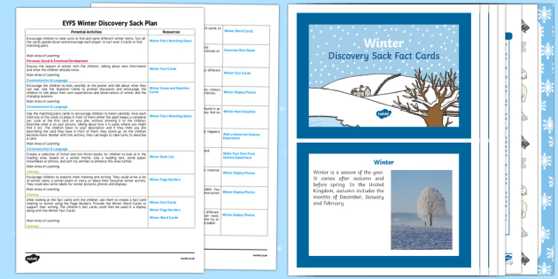 EYFS Winter Discovery Sack - EYFS, winter, seasons, lesson ideas