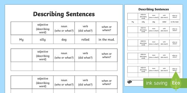 Describing Sentences Activity - activity, game, fun, describing sentences, sentences, sentence structure, descriptive writing, literacy, writing activity, fun activity, fun game, learning, play