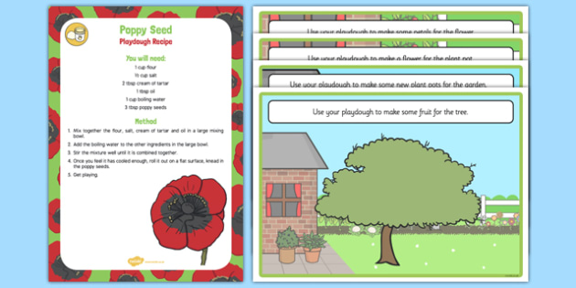 Poppy Seed Plants and Growth Playdough Recipe and Mat Pack