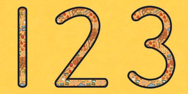 Autumn Display Number - seasons, weather, display, numbers