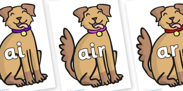 Phase 3 Phonemes on Dog - Phonemes, phoneme, Phase 3, Phase three, Foundation, Literacy, Letters and Sounds, DfES, display
