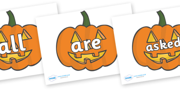Tricky Words on Jack O'lanterns - Tricky words, DfES Letters and Sounds, Letters and sounds, display, words