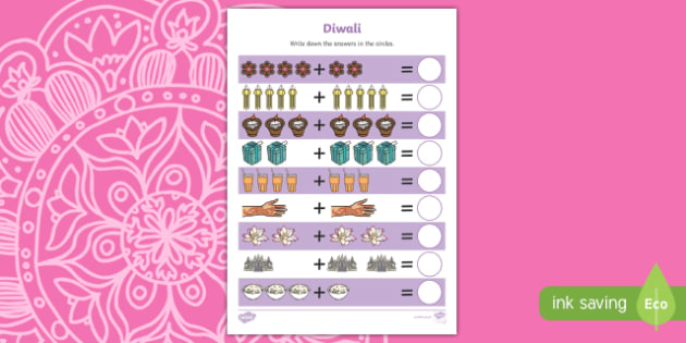 Diwali Up to 10 Addition Sheet