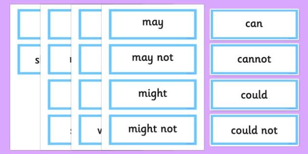 Modal Verb Word Cards - australia, Modal, Verbs, Persuasive, Writing, English, Australian, NAPLAN