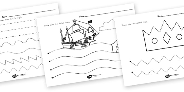 Pirate Themed Pencil Control Worksheets - pirate, pencil control