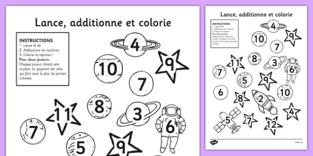 Lance, additionne et colorie Français - Français, espace, rouleau, couleur, dés