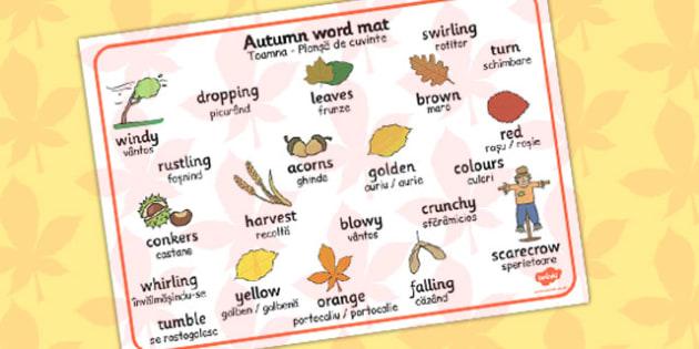 Autumn Word Mat Romanian Translation - romanian, autumn, mat