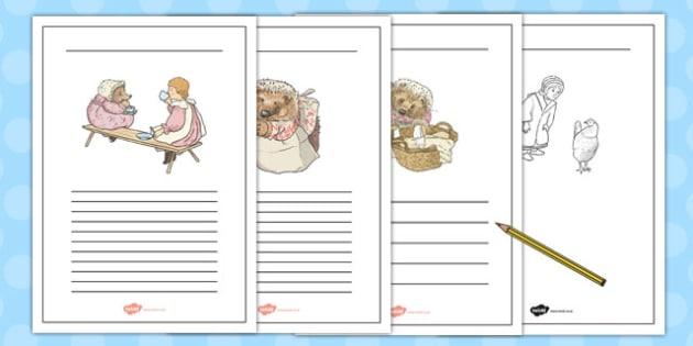 The Tale of Mrs Tiggy Winkle Writing Frames - mrs tiggy winkle