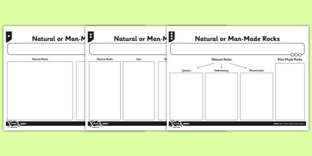 Natural or Man Made Rocks Activity Sheet - natural, man made, rocks, worksheet