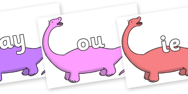 Phase 5 Phonemes on Apatosaurus to Support Teaching on Harry and the Bucketful of Dinosaurs - Phonemes, phoneme, Phase 5, Phase five, Foundation, Literacy, Letters and Sounds, DfES, display