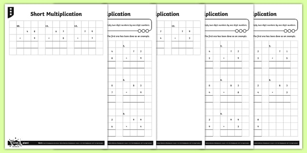 Number Names Worksheets multiplication activity sheets : Short Multiplication Activity Sheets - Y4 Multiplication and