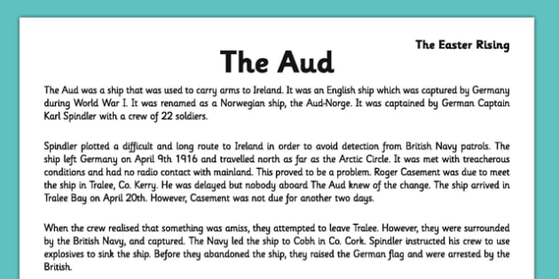 Irish History 1916 Rising The Aud Reading Comprehension Activity Sheet - irish history, 1916 rising, easter rising, comprehension, ireland, worksheet