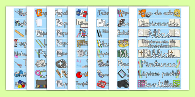 Classroom Equipment Tray Labels Spanish - spanish, labels, tray labels, classroom equipment, class, classroom, sign