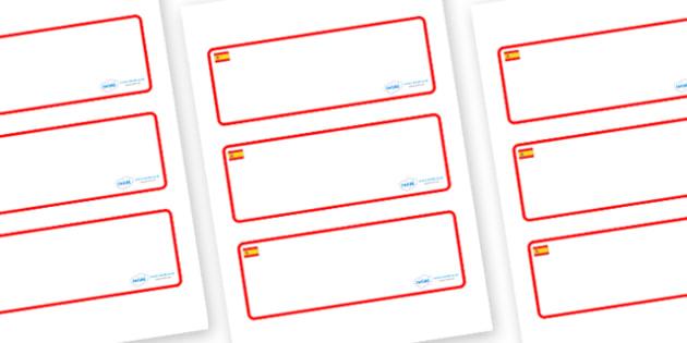 Spain Themed Editable Drawer-Peg-Name Labels (Blank) - Themed Classroom Label Templates, Resource Labels, Name Labels, Editable Labels, Drawer Labels, Coat Peg Labels, Peg Label, KS1 Labels, Foundation Labels, Foundation Stage Labels, Teaching Labels